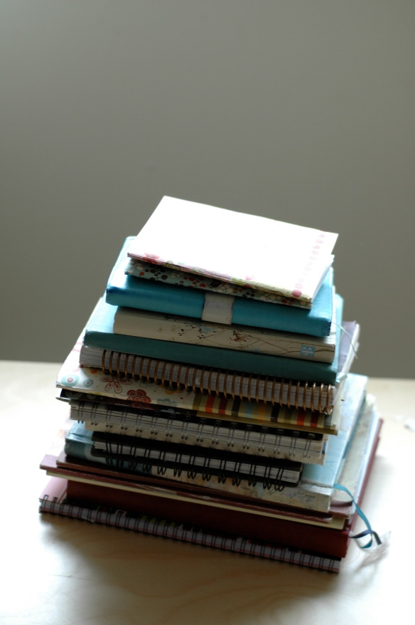 A pile of my journals from the last 5 years or so.